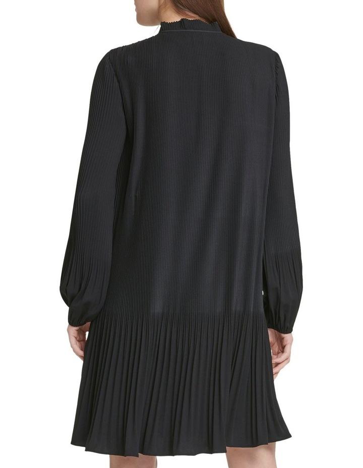 Long Sleeve Tie Neck Pleated Dress image 3