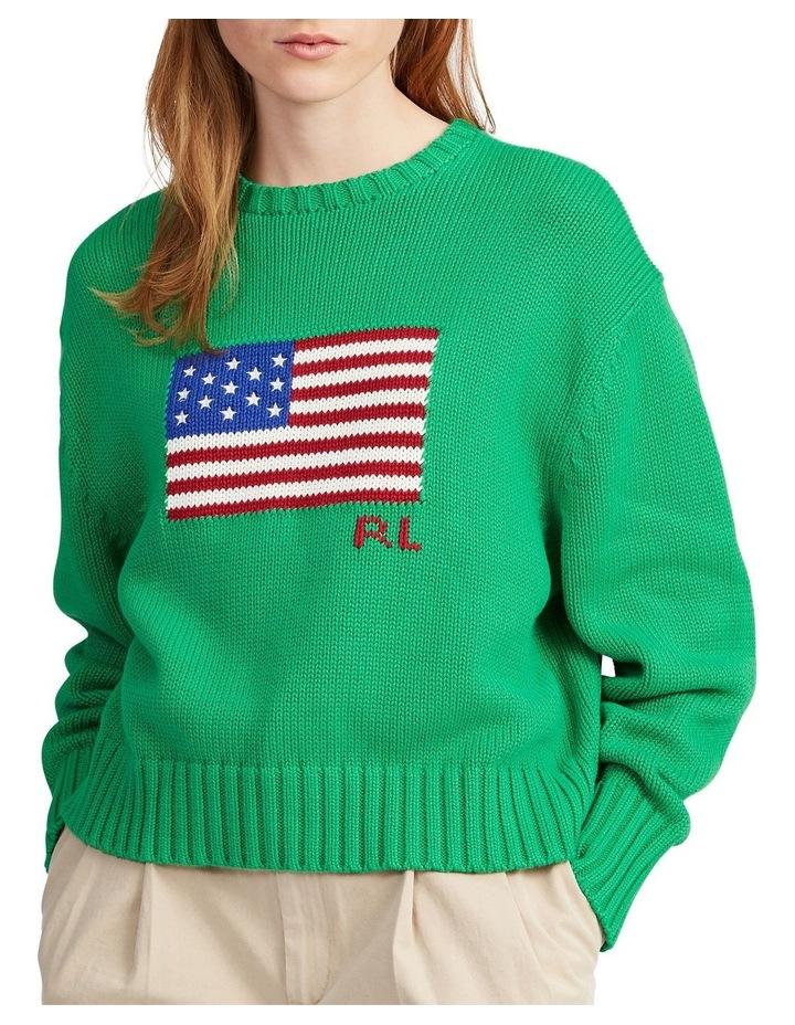 Boxy Flag Crewneck Sweater image 1