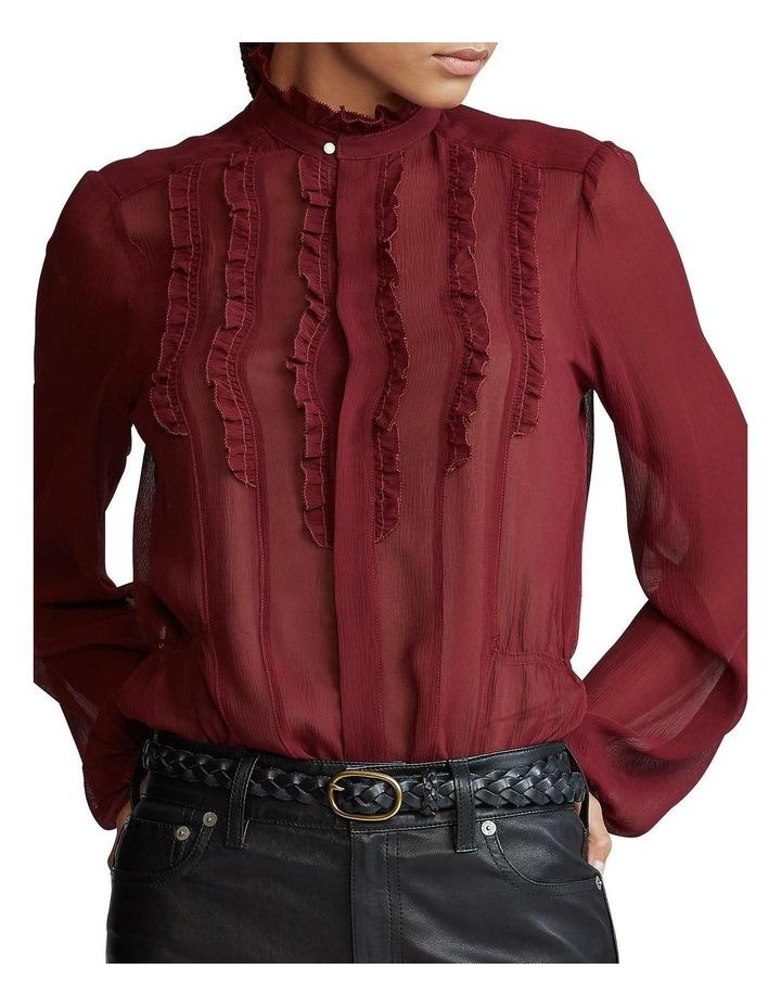 Ruffle-Trim Silk Shirt image 1