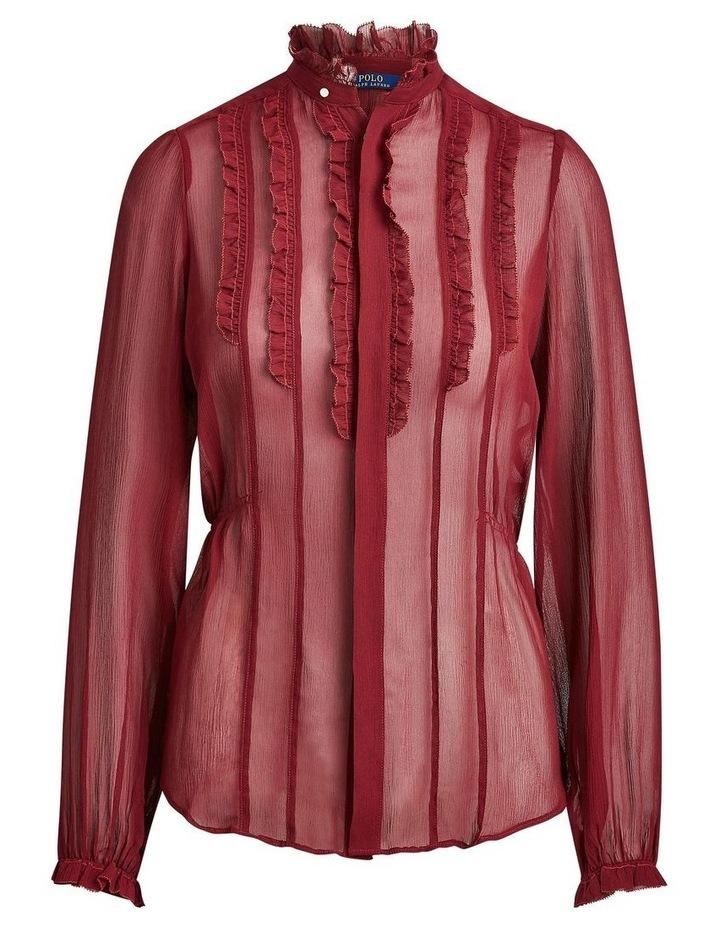 Ruffle-Trim Silk Shirt image 4