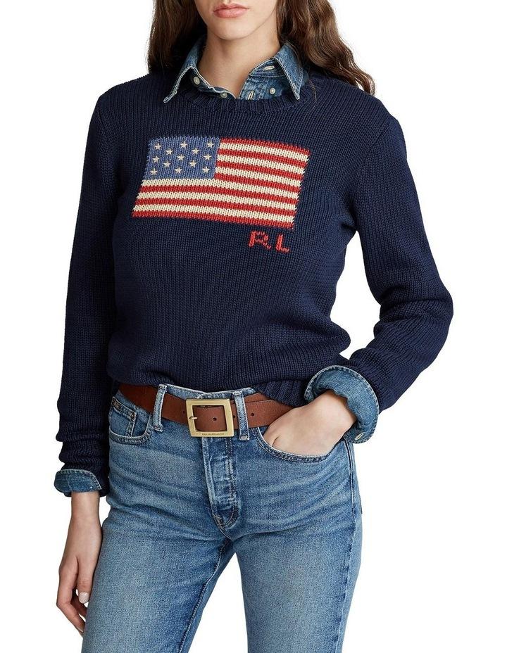 Flag Cotton Crewneck Sweater image 1