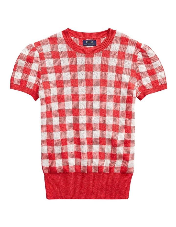 Gingham Short-Sleeve Sweater image 4