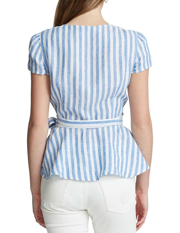 Striped Linen Wrap Blouse image 2