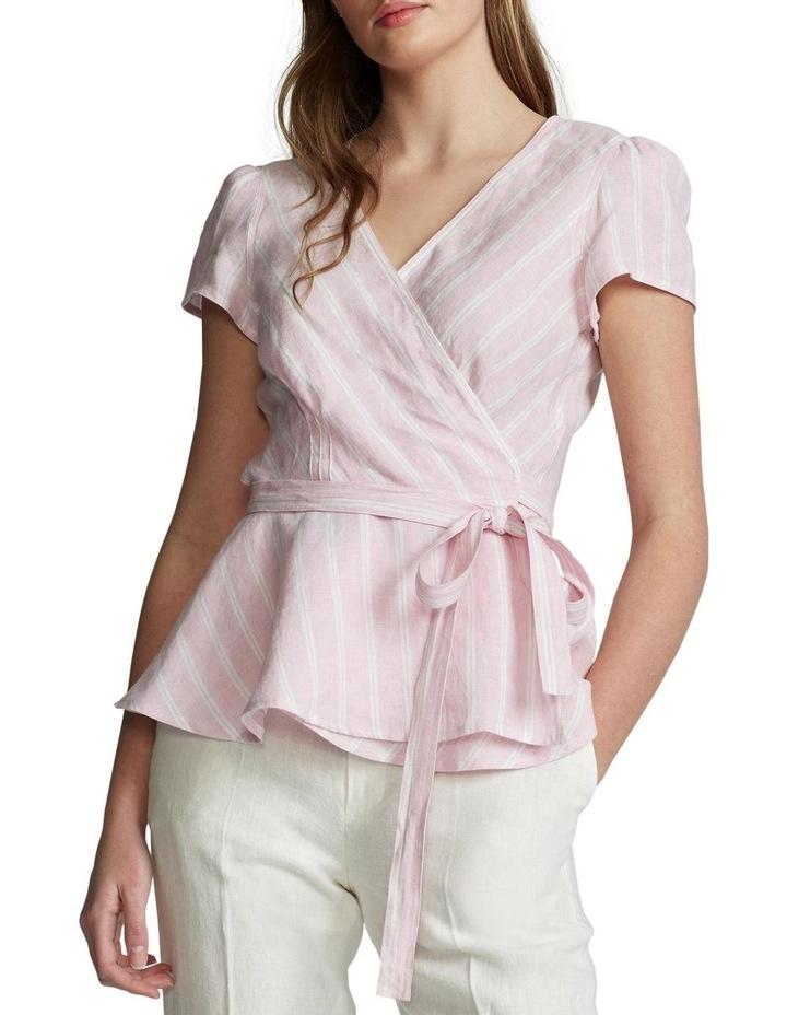 Striped Linen Wrap Blouse image 1