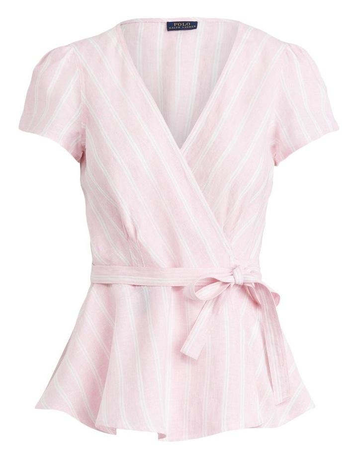 Striped Linen Wrap Blouse image 4