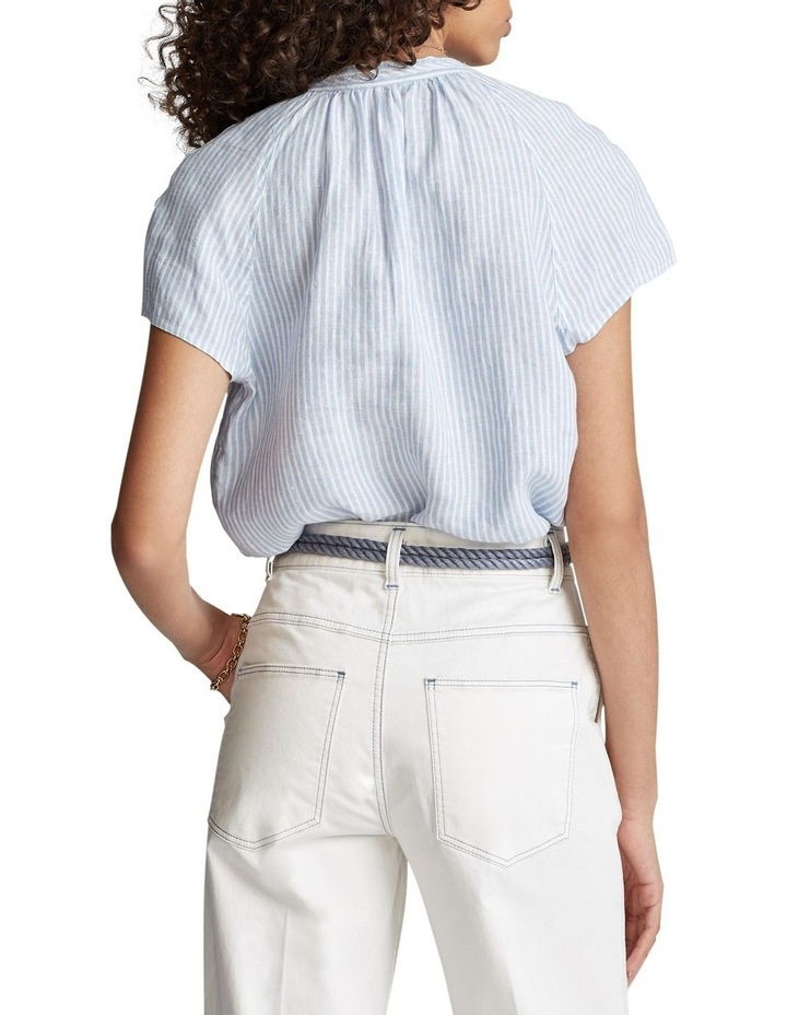 Striped Linen Necktie Blouse image 2