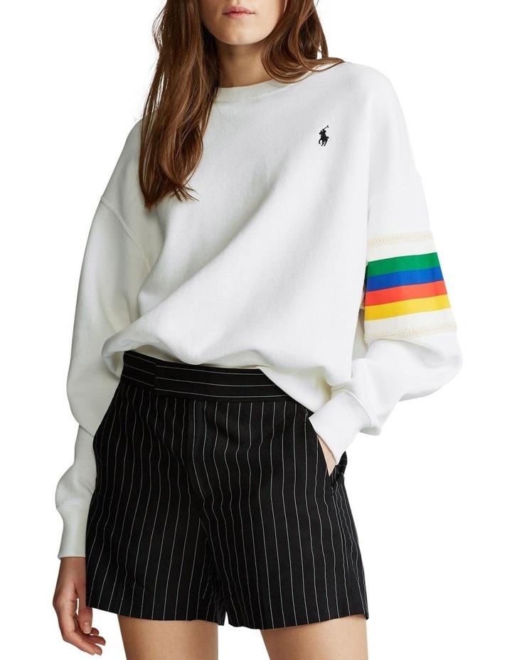 Rainbow-Trim Fleece Sweatshirt image 1