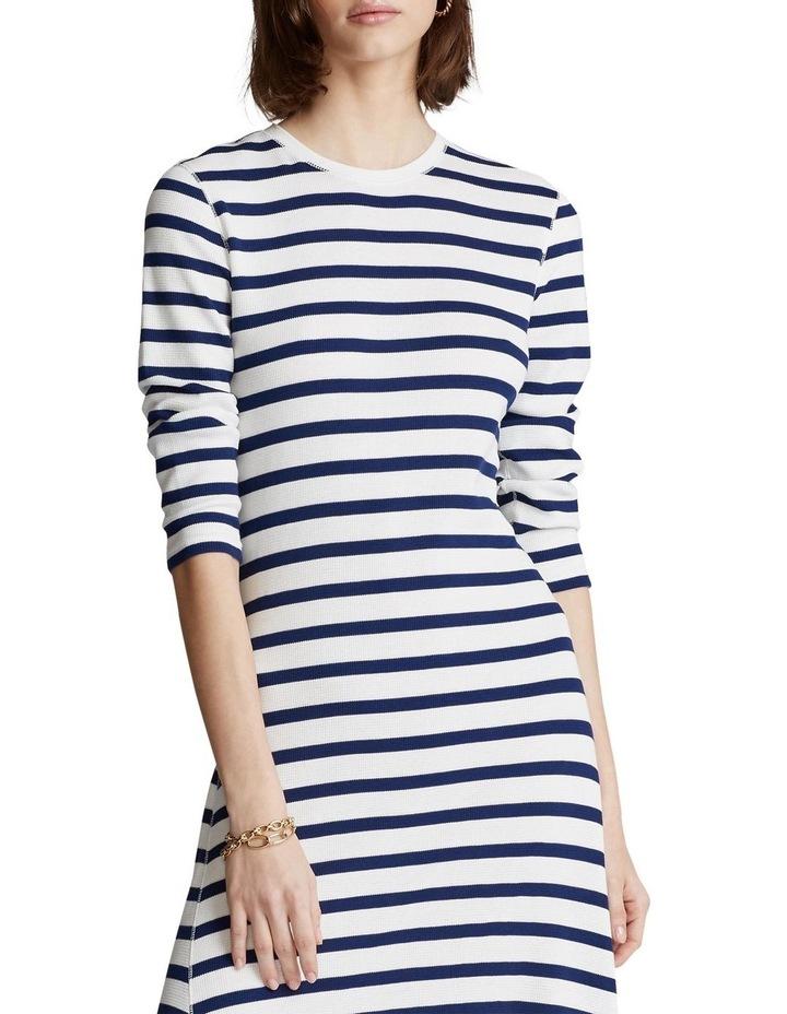Striped Waffle-Knit Dress image 1