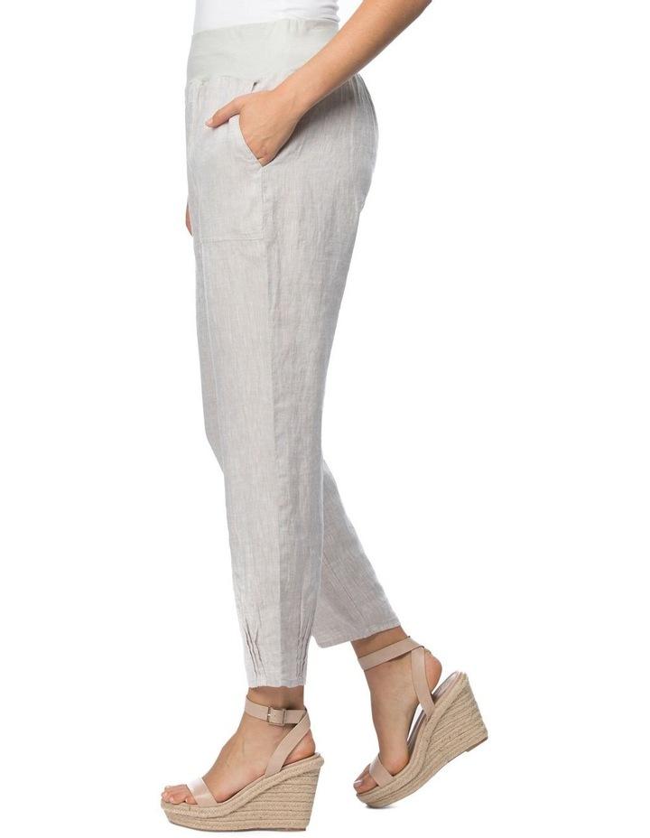 Ribbed Waist Yarn Dyed Linen Pant image 2