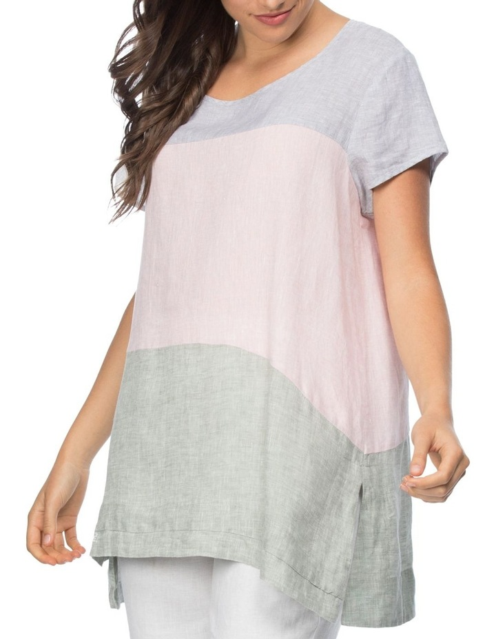 Spliced Multi Coloured Short Sleeve Top image 1