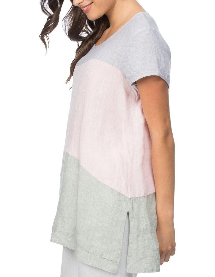 Spliced Multi Coloured Short Sleeve Top image 2