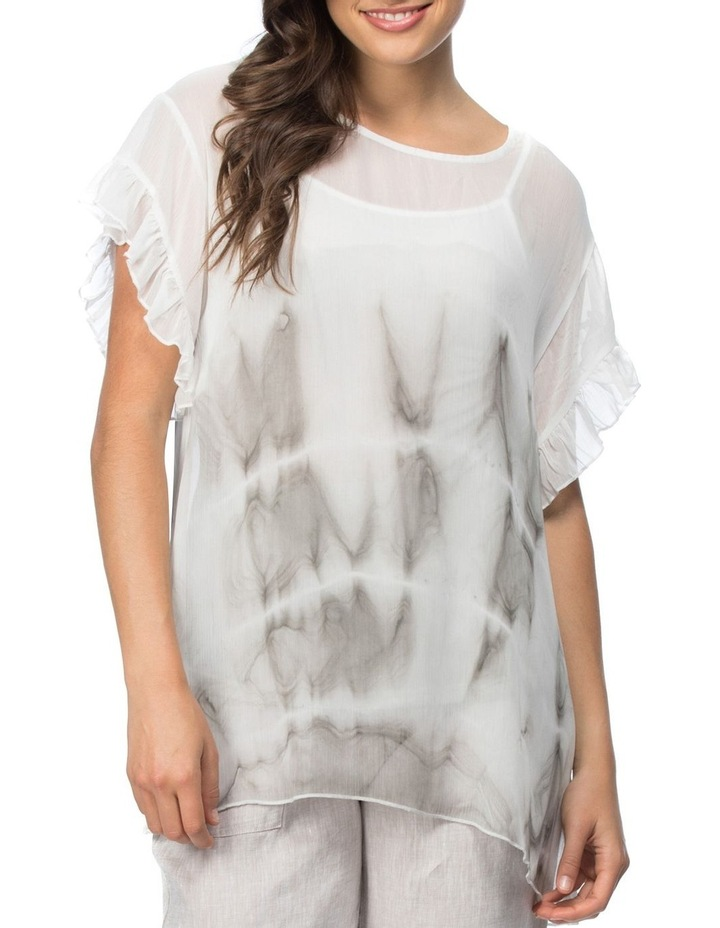 Tie Dyed Print Frill Sleeve Top image 1
