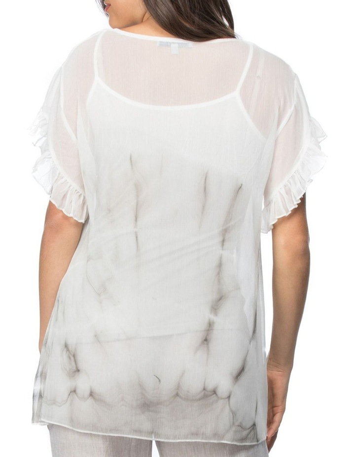 Tie Dyed Print Frill Sleeve Top image 3