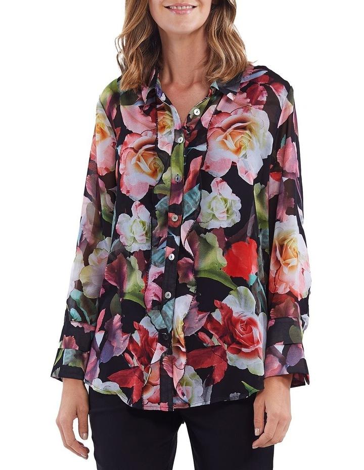 Floral Print Ruffle Placket Shirt image 1