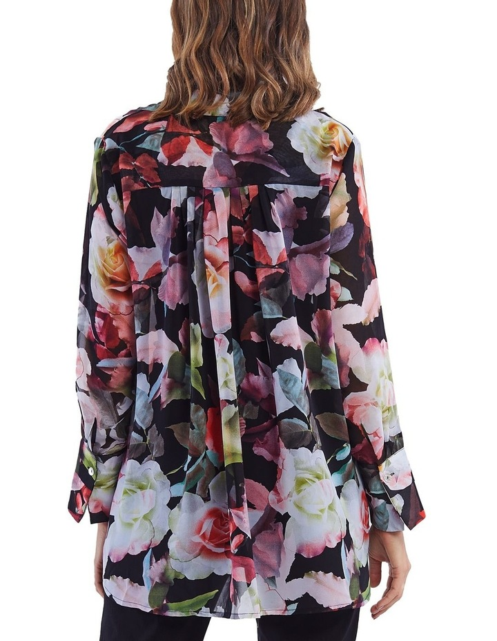 Floral Print Ruffle Placket Shirt image 3