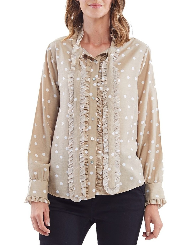 Bow Tie Ruffle Front Spot Shirt image 1