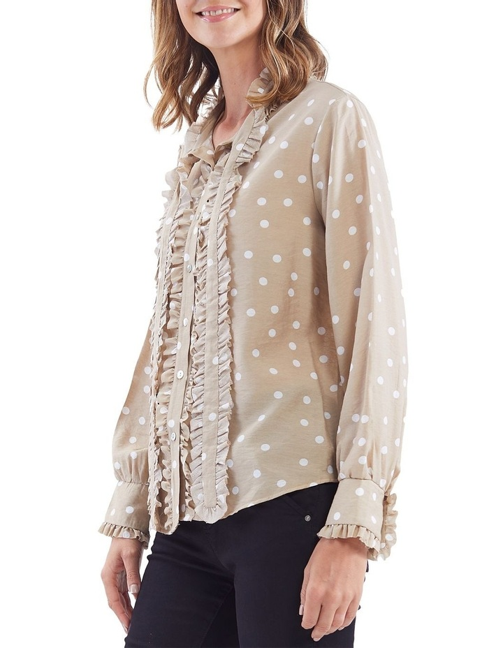 Bow Tie Ruffle Front Spot Shirt image 2