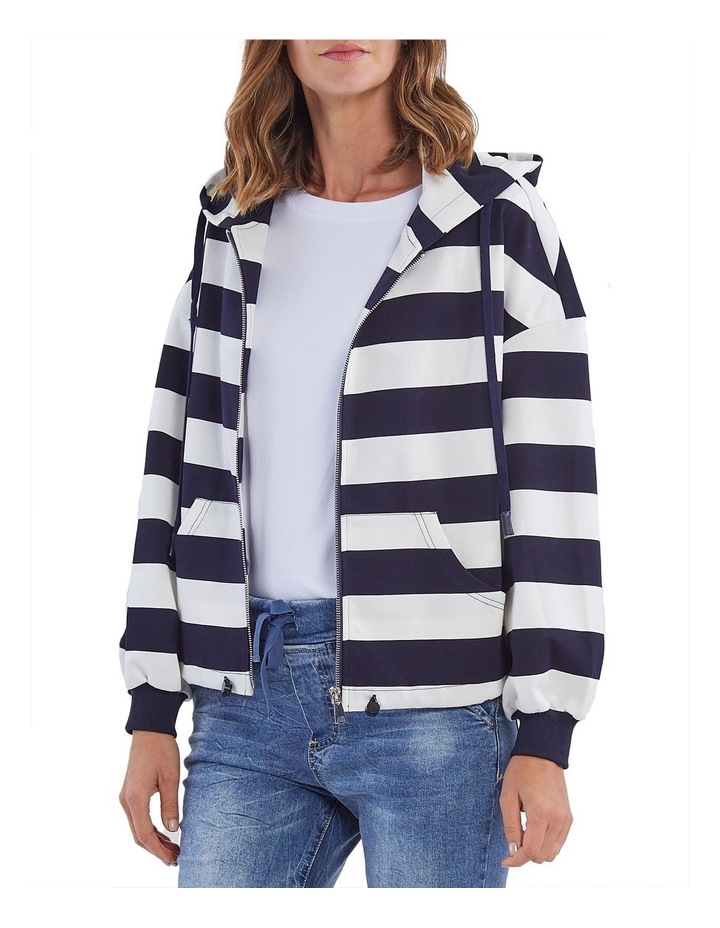 Marine Stripe Zip Front Hoodie image 1