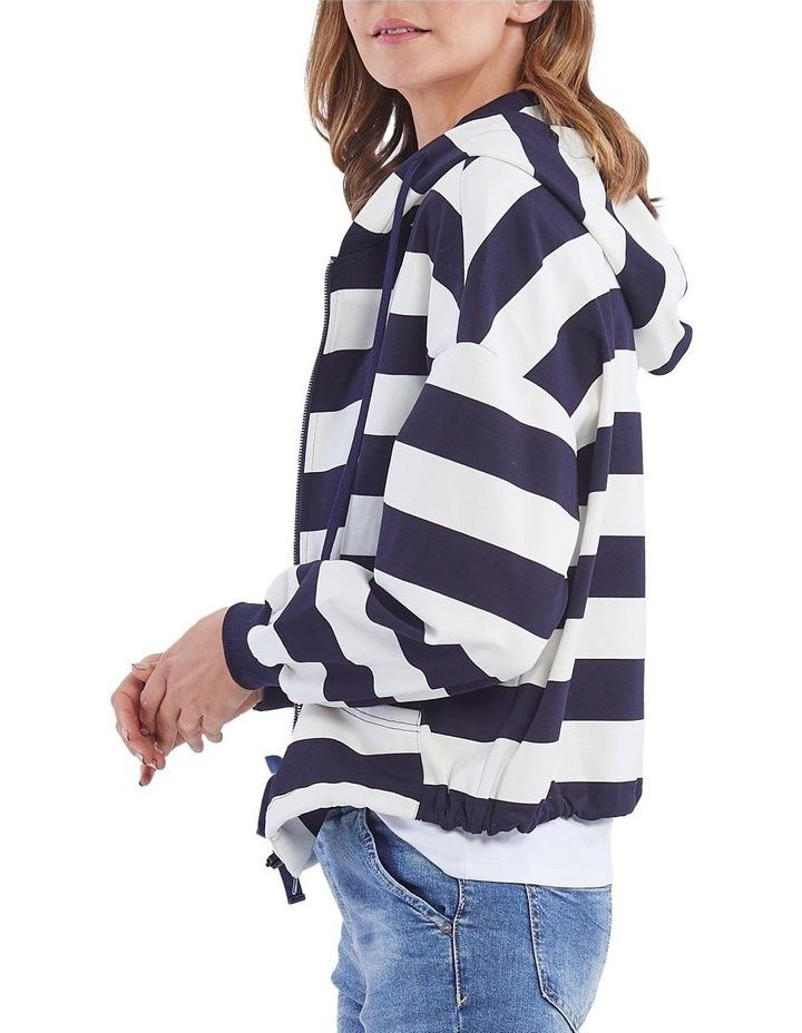 Marine Stripe Zip Front Hoodie image 2