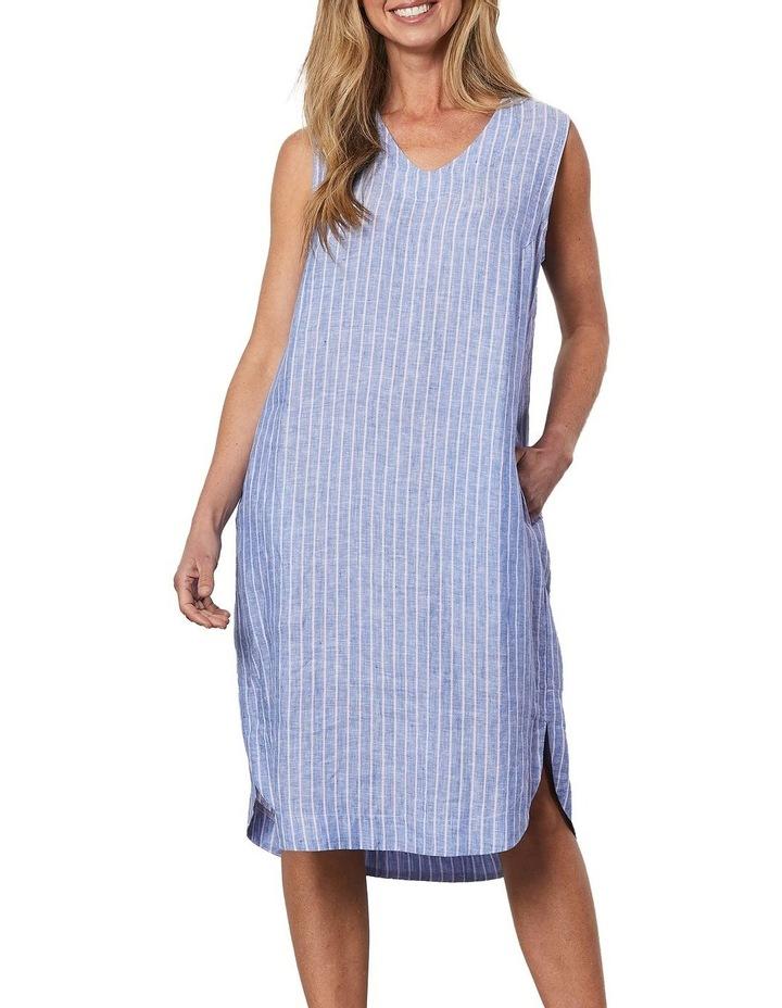 Stripe V Neck Dress Blue image 1