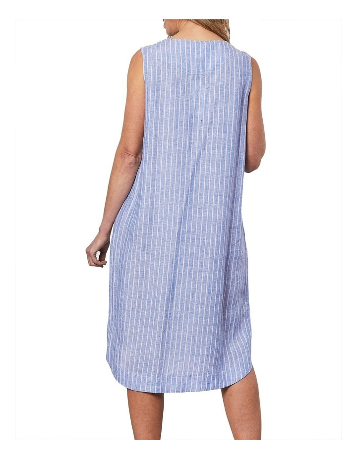 Stripe V Neck Dress Blue image 2