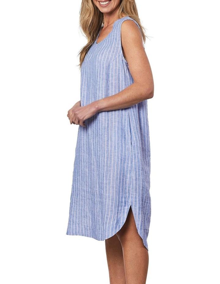 Stripe V Neck Dress Blue image 3