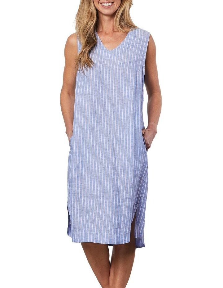Stripe V Neck Dress Blue image 4