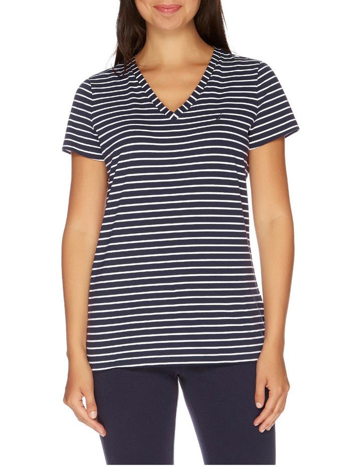 Stripe Short Sleeve V-Neck Tee Navy Seas image 1