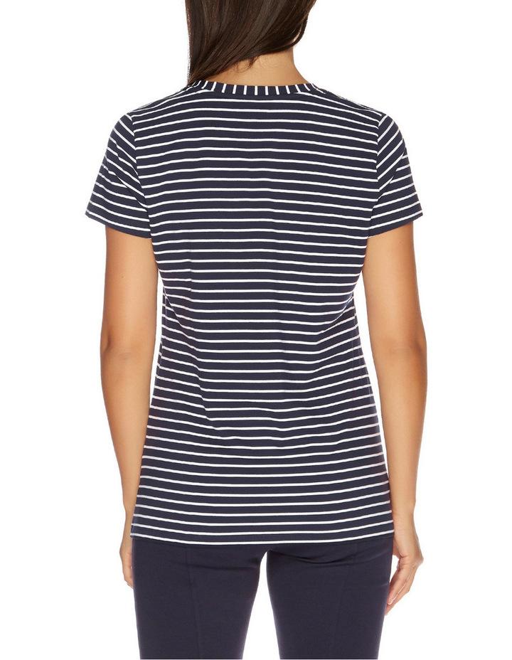Stripe Short Sleeve V-Neck Tee Navy Seas image 2