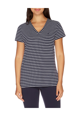 Nautica - Stripe Short Sleeve V-Neck Tee Navy Seas