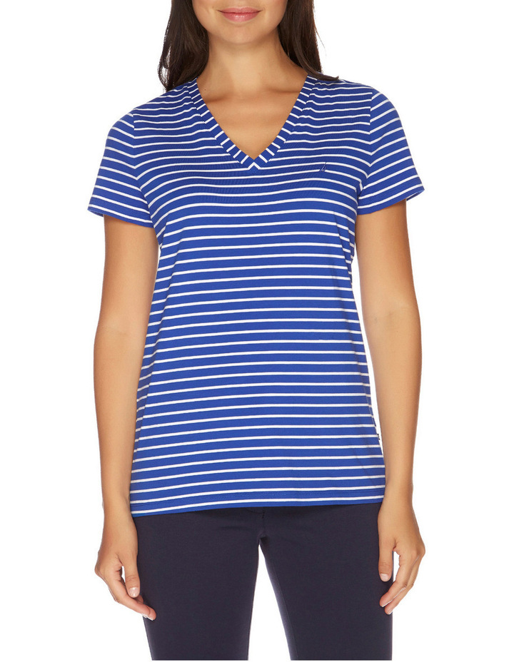 Stripe Short Sleeve V-Neck Tee Lapis Tide image 1