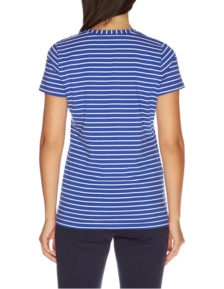 Stripe Short Sleeve V-Neck Tee Lapis Tide image 2