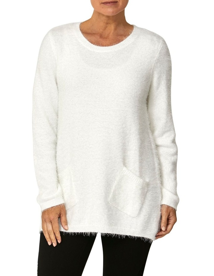 Crew Neck Feather Knit Pullover image 1