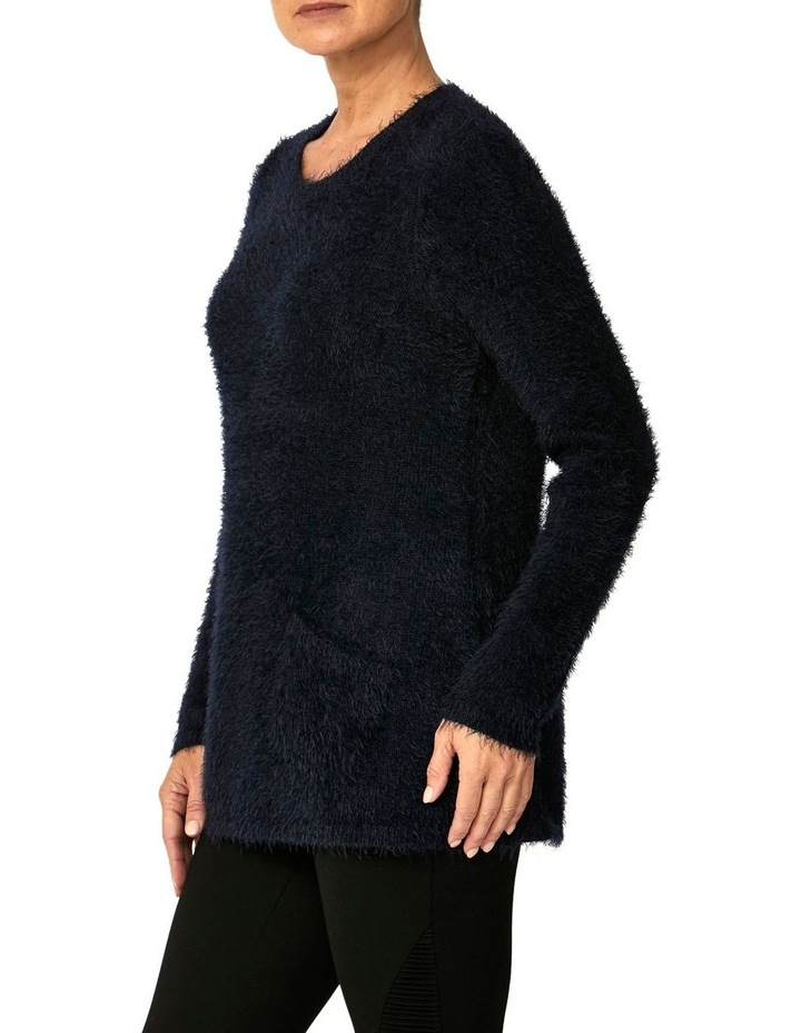 CREW NECK FEATHER KNIT PULLOVER image 2