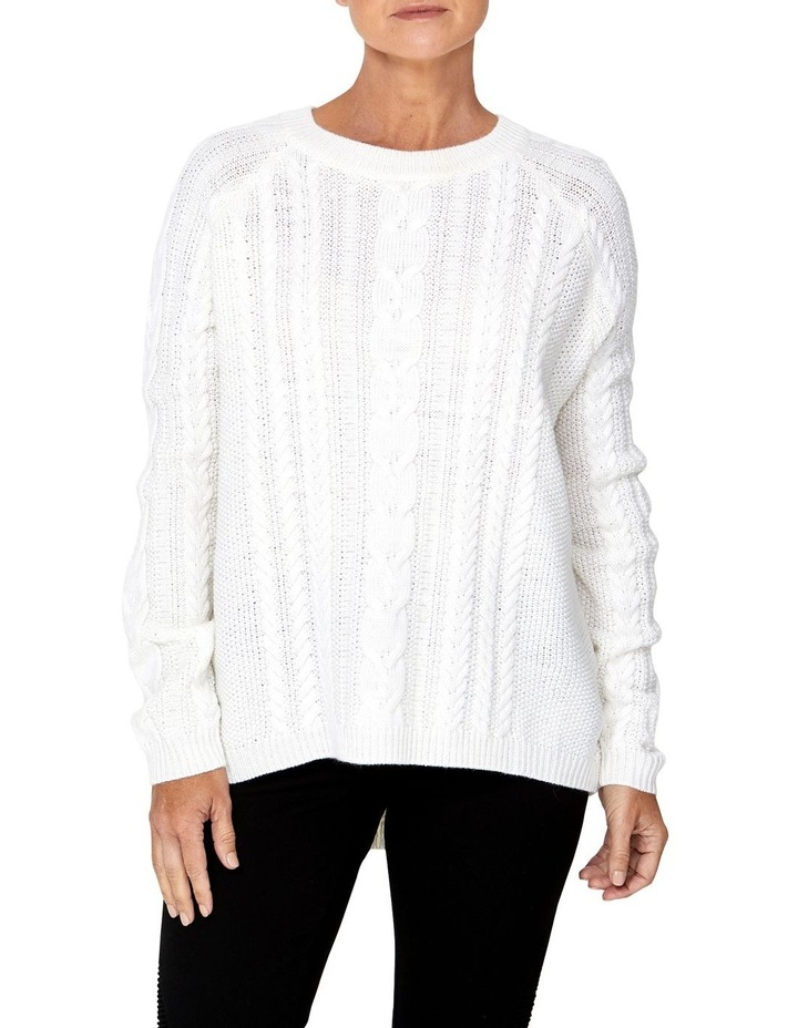 CABLE RAGLAN SLEEVE PULLOVER image 1