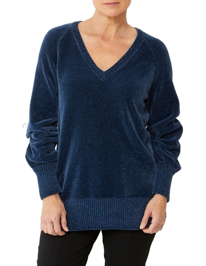 V-Neck Wide Sleeve Chenille Pullover image 1