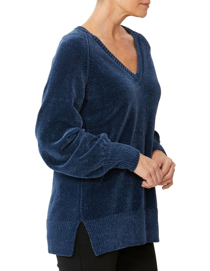 V-Neck Wide Sleeve Chenille Pullover image 2
