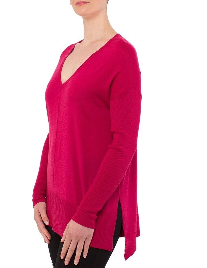 V-Neck Rib Sleeve Pullover image 2