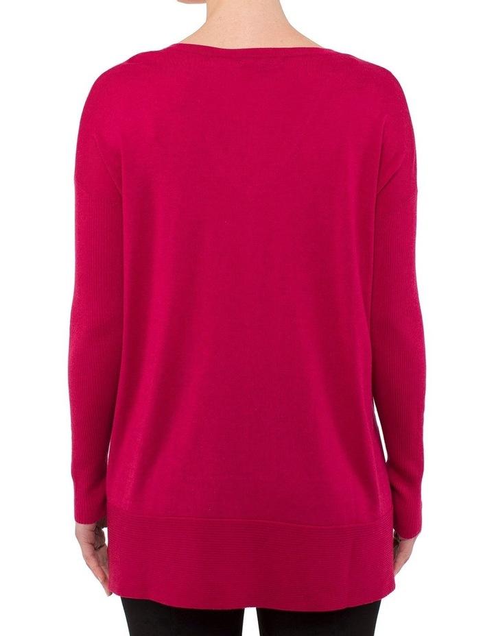V-Neck Rib Sleeve Pullover image 3