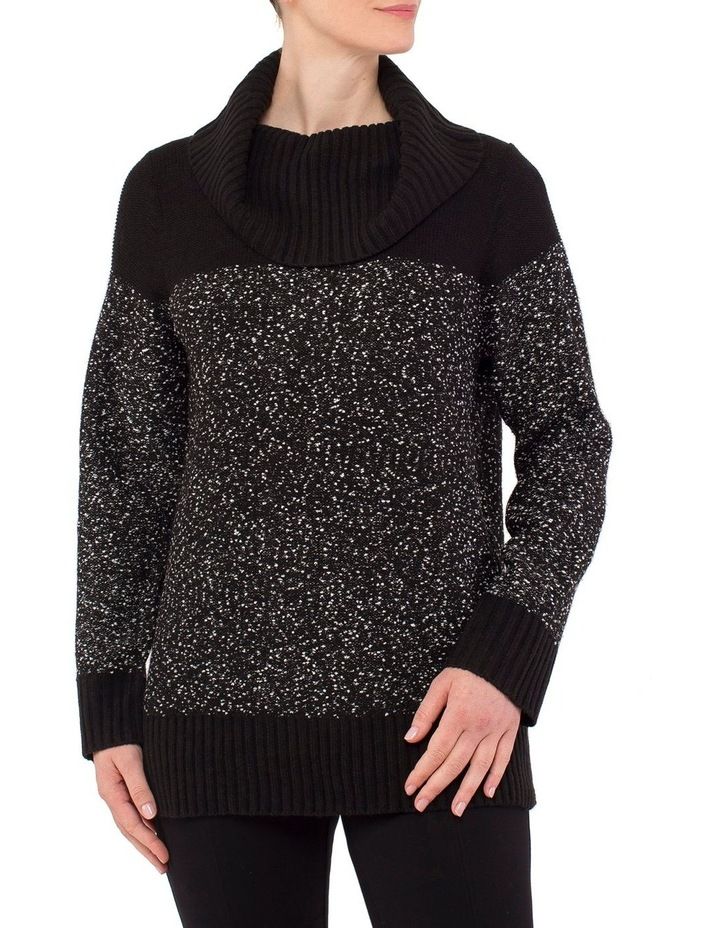 Cowl Neck Flecked Pullover Knit image 1