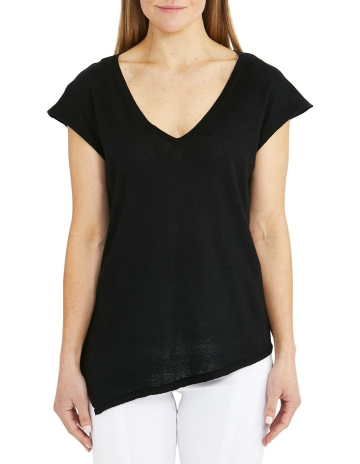 Boxy Knit V-Neck Asymmetrical Pullover Black image 1
