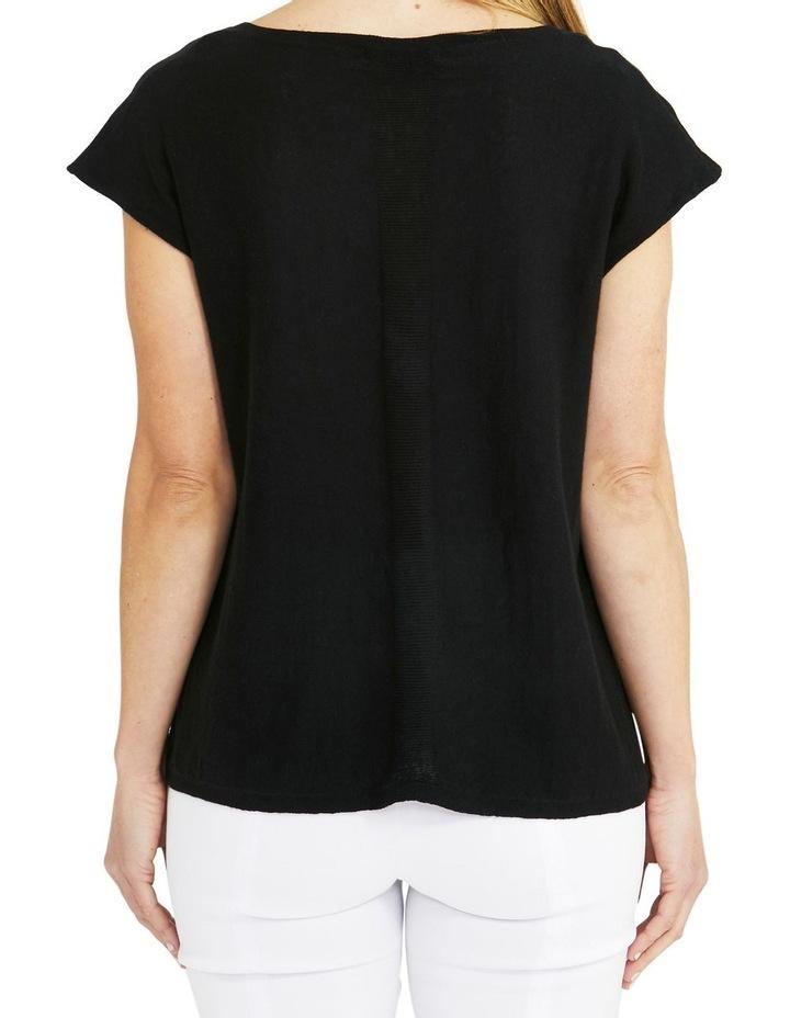 Boxy Knit V-Neck Asymmetrical Pullover Black image 2