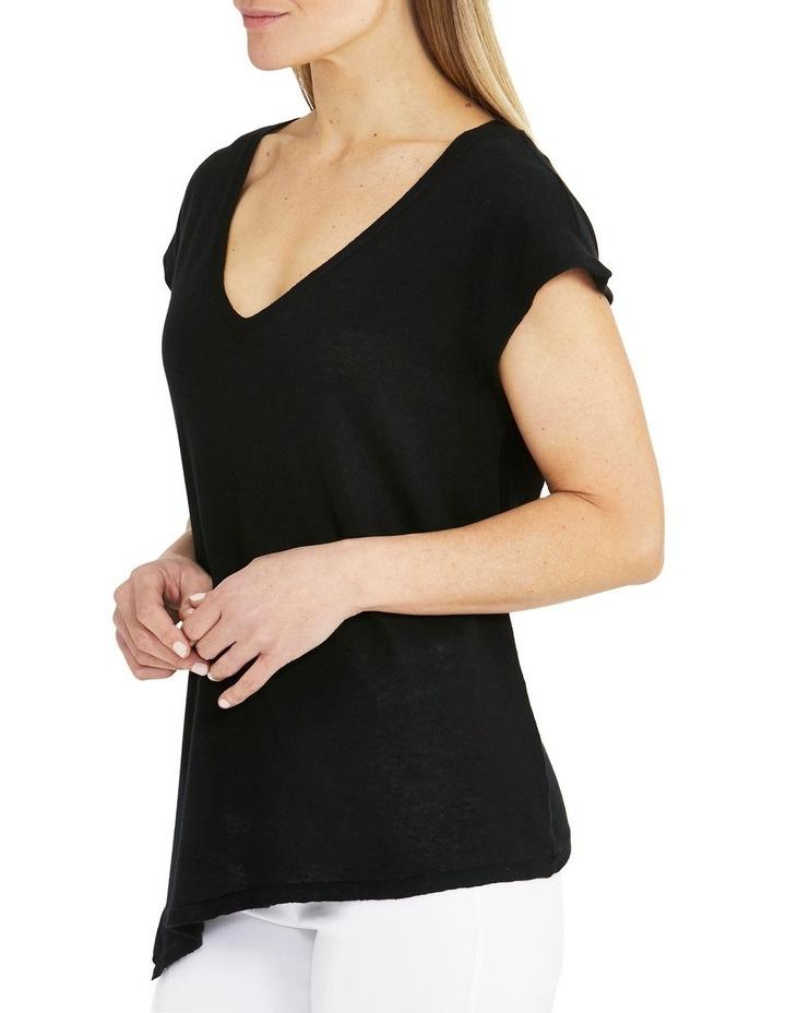 Boxy Knit V-Neck Asymmetrical Pullover Black image 3