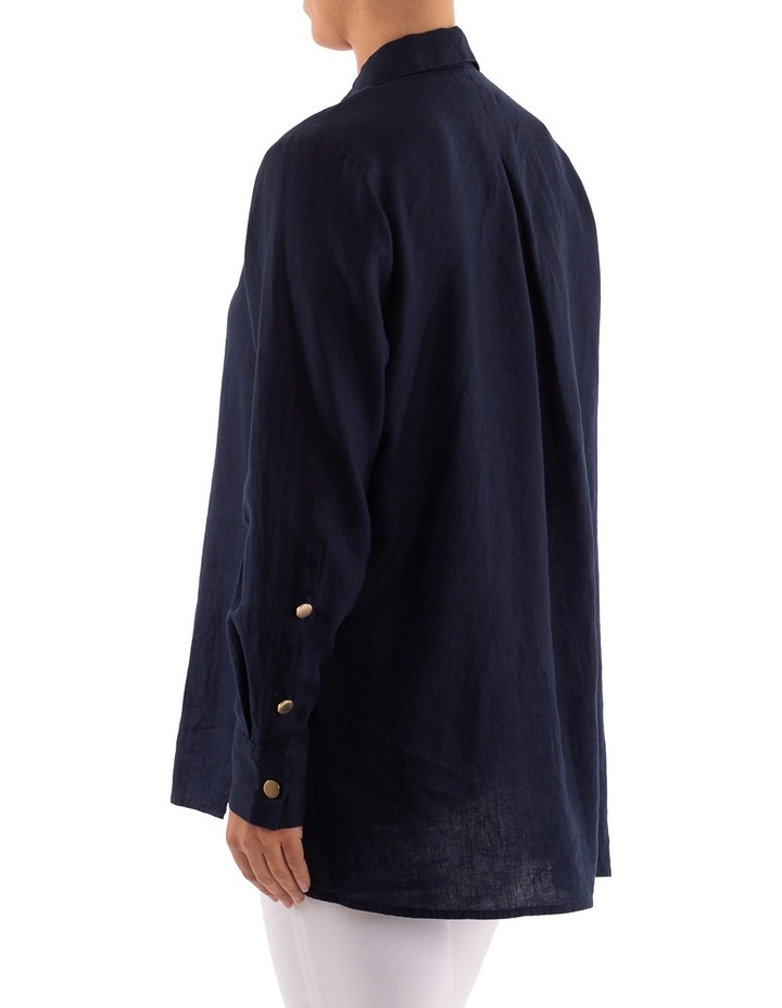 High Split Longline Linen Shirt image 3