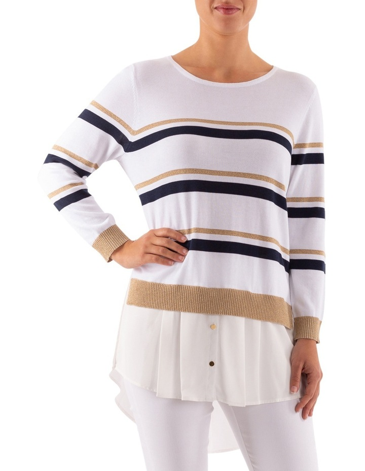 Stripe Pullover With Shirt Tail image 1