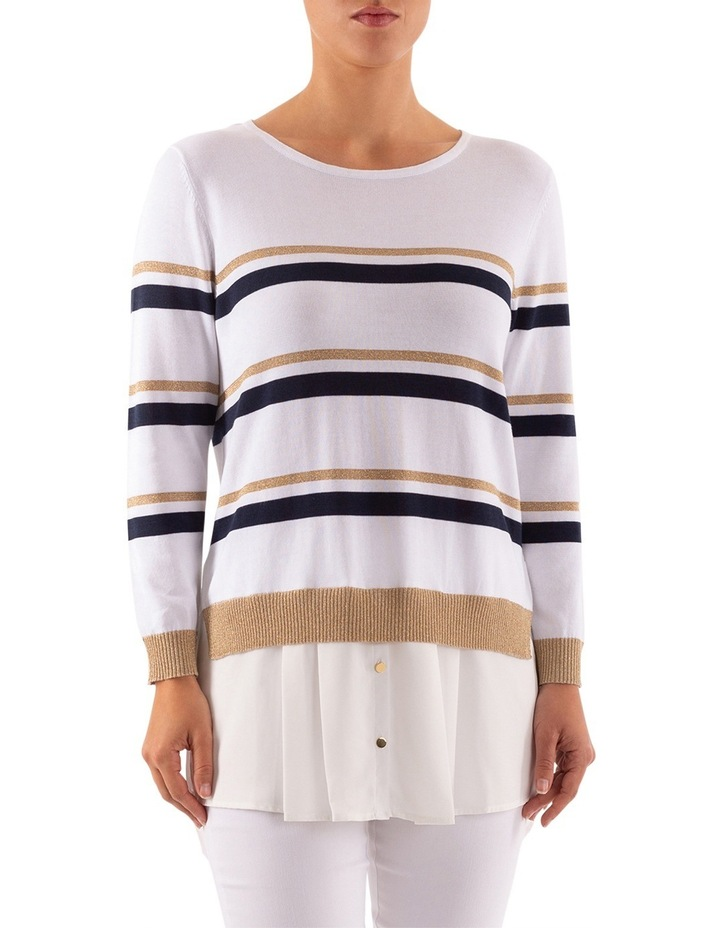 Stripe Pullover With Shirt Tail image 2