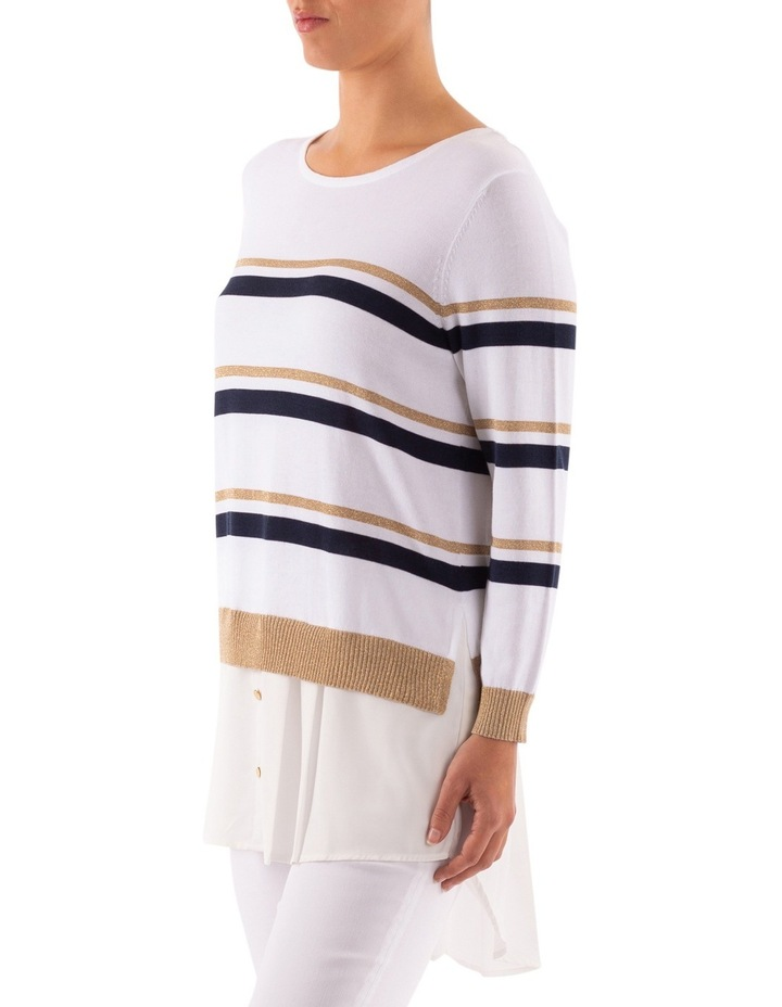 Stripe Pullover With Shirt Tail image 3