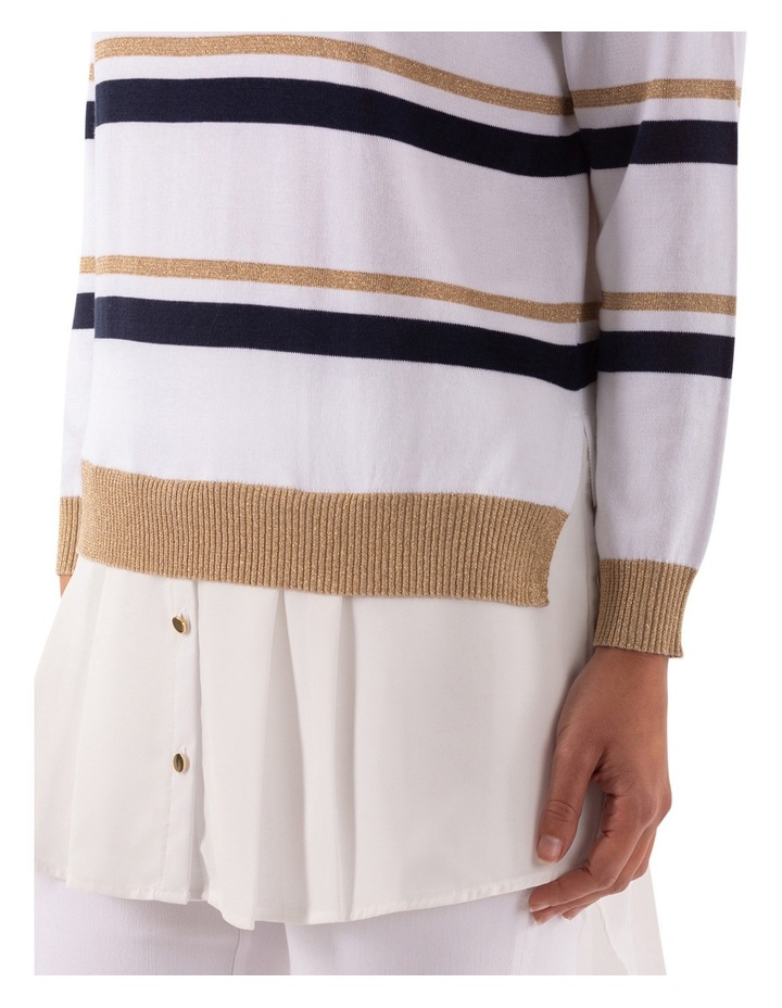 Stripe Pullover With Shirt Tail image 6