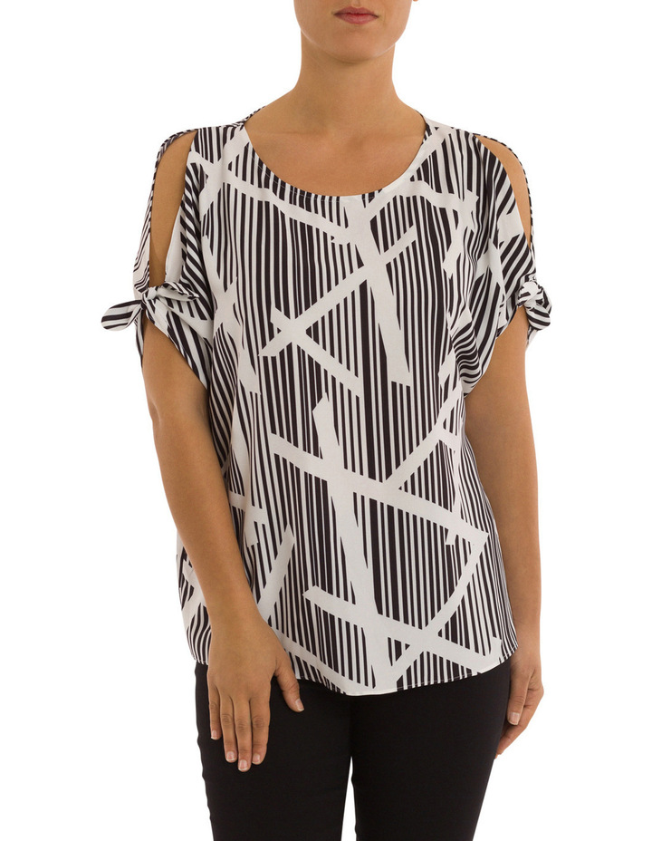 Elbow Tie Sleeve Bamboo Print Top image 1