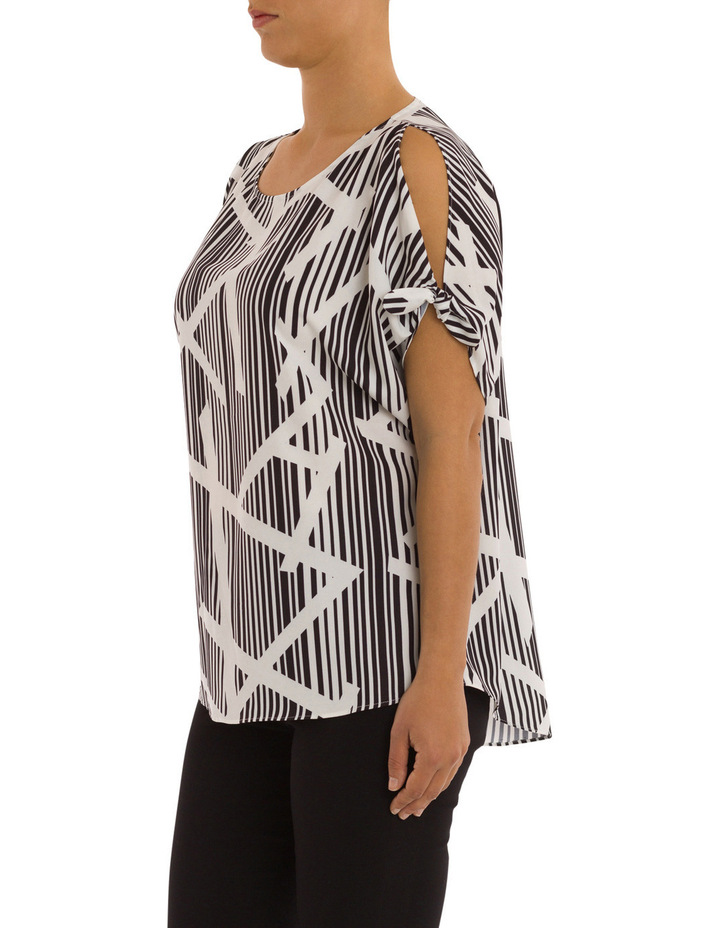 Elbow Tie Sleeve Bamboo Print Top image 2
